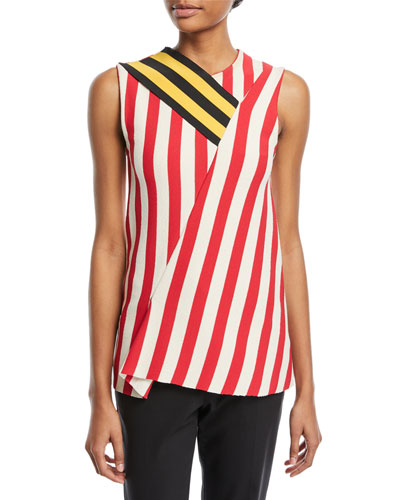 Sleeveless Mixed-Striped Top