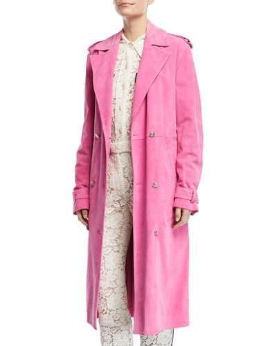 DOUBLE-BREASTED SUEDE TRENCHCOAT