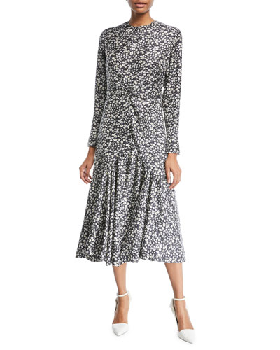 Daisy-Print Long-Sleeve Silk Midi Dress