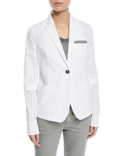 One-Button Cotton-Blend Jacket with Inset Balloon Sleeve