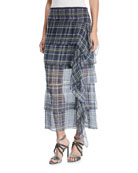 Silk Plaid Ruffle Skirt