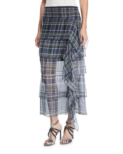 Silk Plaid Ruffle Skirt