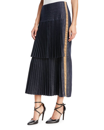 Denim Front Pleated Skirt with Contrast Lamé Racing Stripe