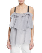 Cotton Voile Microstripe Tiered Top with Monili Straps