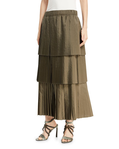 Tiered Pleated Long A-Line Skirt