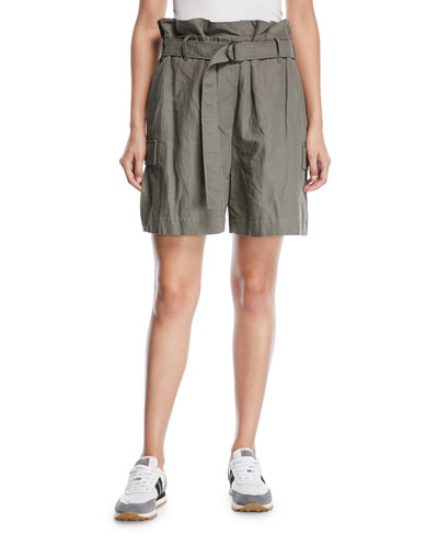 Cotton Paperbag Cargo Shorts with D-Ring Waistbelt