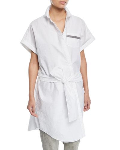 Crinkle Cotton Short-Sleeve Wrap Tunic with Monili Trim