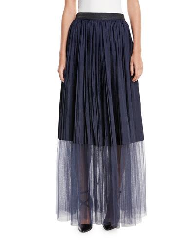 Long Tulle Pleated Sheet-Hem Skirt