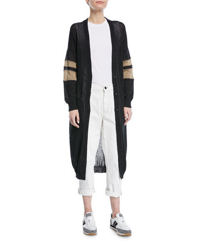 Long Open-Front Belted Duster Cardigan with Contrast Arm Band