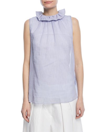 Sleeveless Ruffle-Collar Micro-Striped Cotton Voile Top