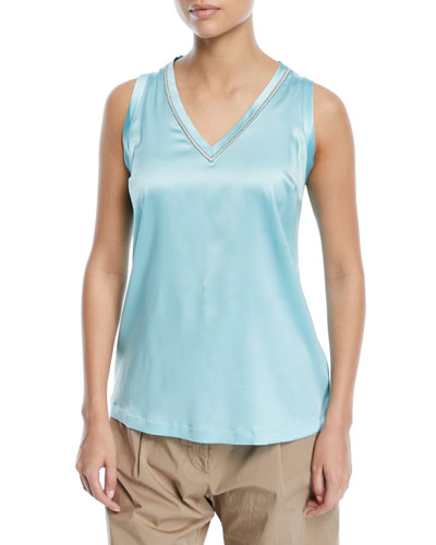 Silk V-Neck Tank with Metallic Stitching