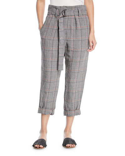 Plaid-Linen Belted High-Waist Crop Pants