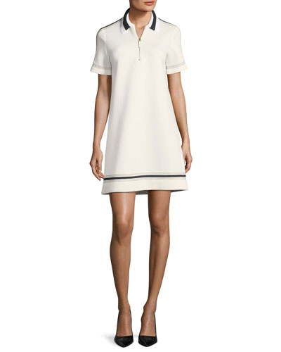 Collared Short-Sleeve Neoprene Dress with Piping