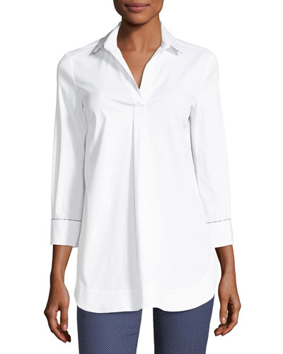Collared Long-Sleeve Cotton Poplin Shirt with Beading