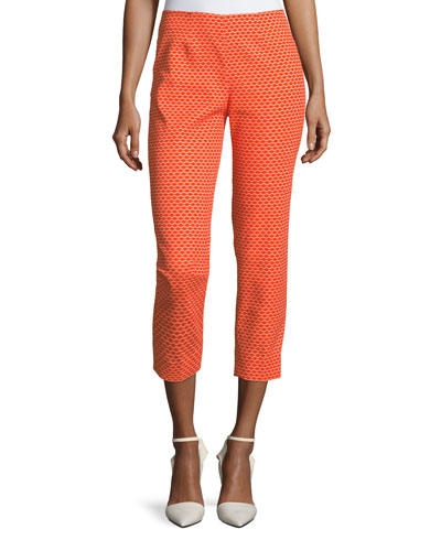 Audrey Side-Zip Pique Capri Pants