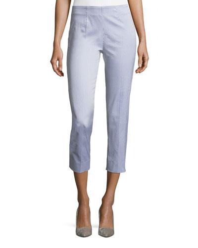 Audrey Striped Seersucker Capri Pants