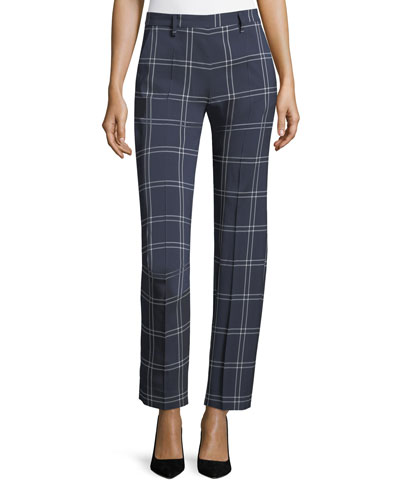 Windowpane Straight-Leg Crepe Pants