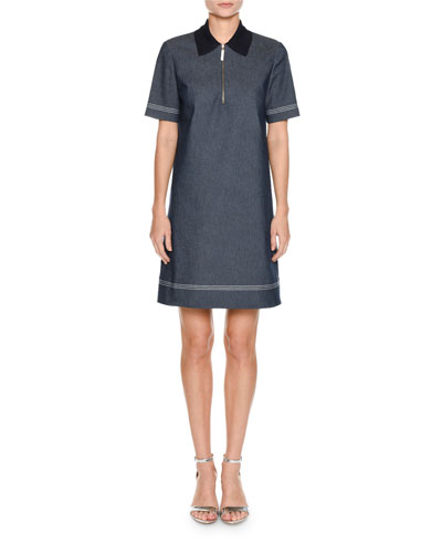 Short-Sleeve Knit-Collar A-Line Denim Dress