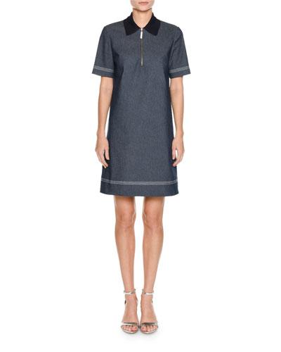 Short-Sleeve Knit-Collar A-Line Denim Dress