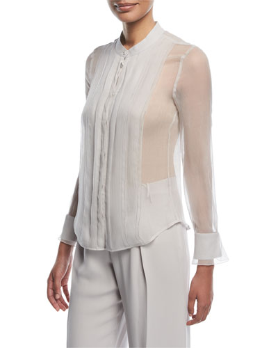 Button-Front Sheer Silk Blouse with Front Panel