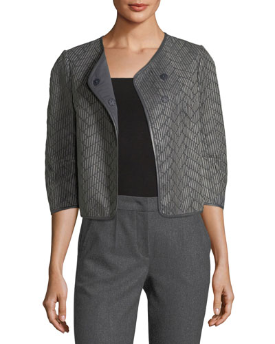 Leather Woven Crop Jacket