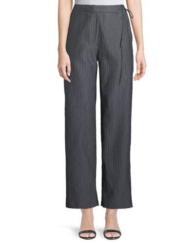 Side-Tie Straight-Leg Crinkle Cotton Pants