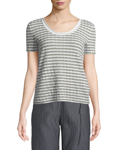 Round-Neck Short-Sleeve Striped Jersey Top