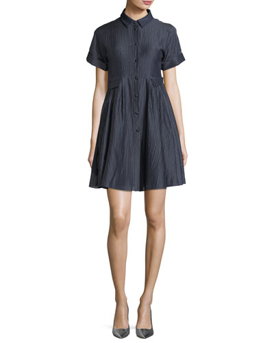 Button-Front Short-Sleeve Crinkle-Cotton Shirtdress