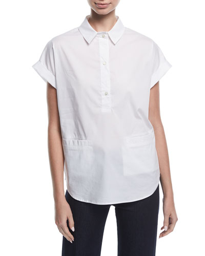 Short-Sleeve Collared Boxy Cotton Poplin Blouse