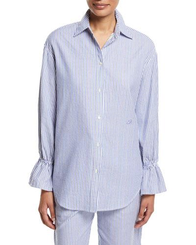 Striped Poplin Oversized Shirt with Flared Cuff