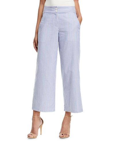 Striped Cotton Wide-Leg Cropped Pants