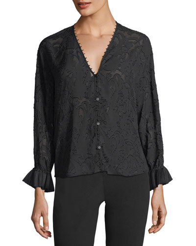 V-Neck Long-Sleeve Burnout Blouse
