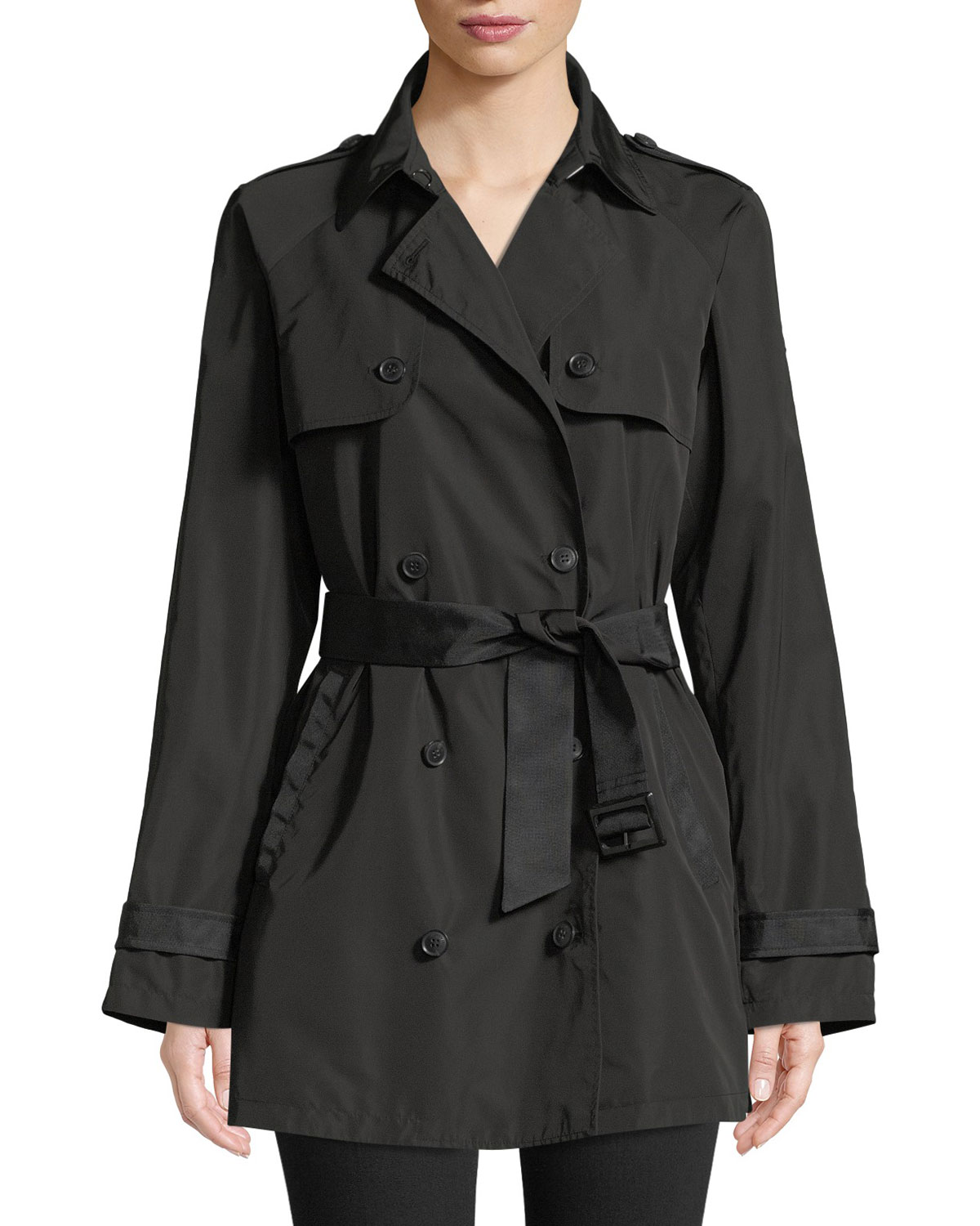 Zip-Front Hooded Peplum Raincoat