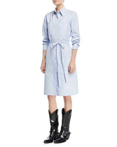 Button-Front Long-Sleeve Poplin Shirtdress