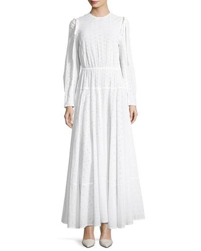 Crewneck Open-Back Broderie Anglais Long Dress