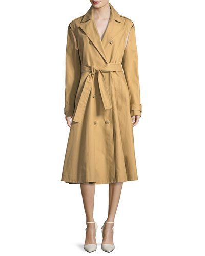 Double-Breasted Swing Trench Coat with Detachable Sleeves