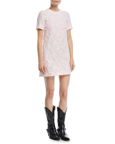 Crewneck Short-Sleeve Rose-Jacquard A-Line Dress