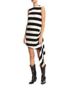 Sleeveless Horizontal-Stripe A-Line Dress with Side Drape