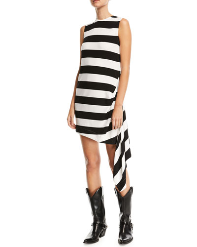 Sleeveless Horizontal-Stripe A-Line Dress with Side Drape