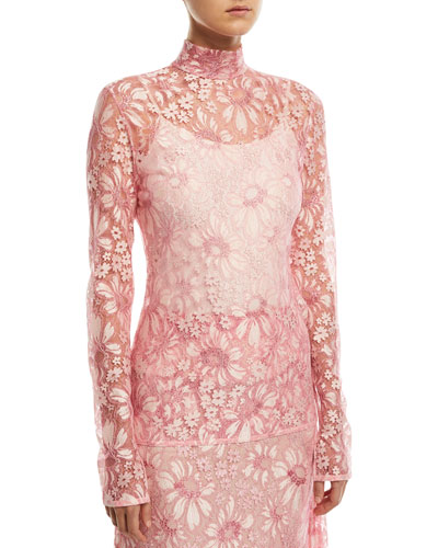 Mock-Neck Long-Sleeve Sheer Lace Blouse