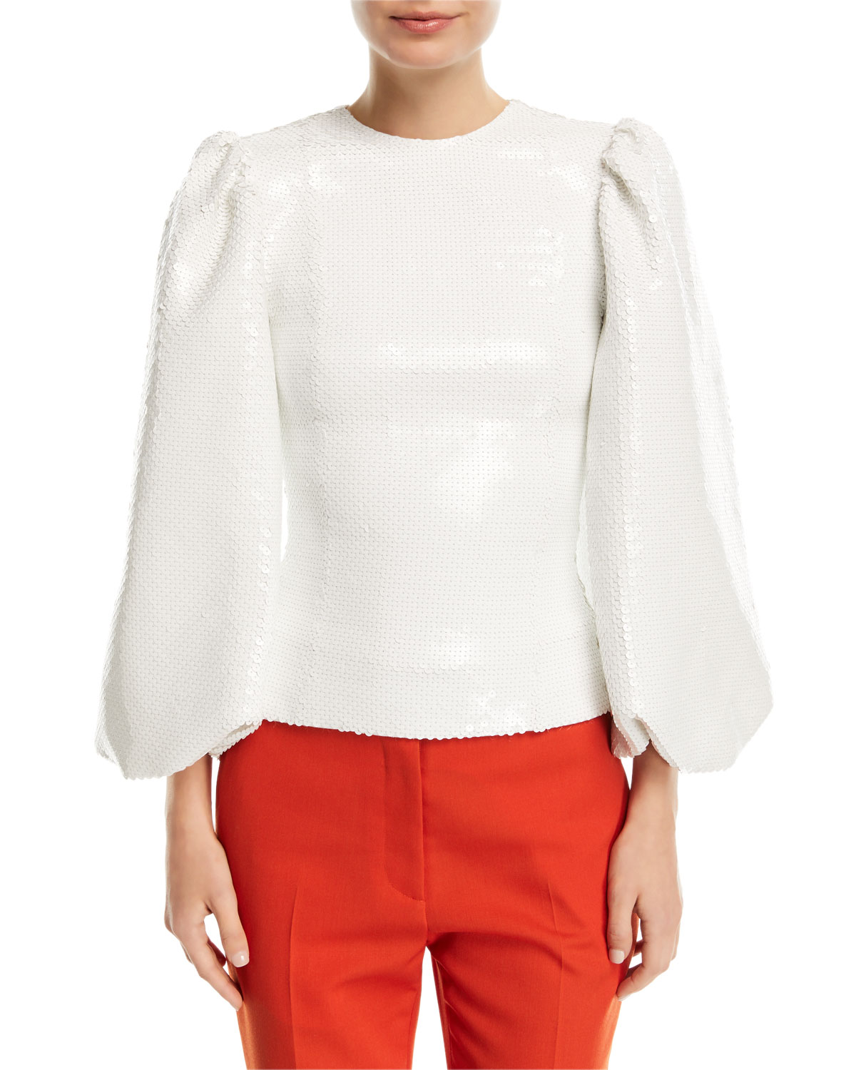 Balloon-Sleeve Fitted Sequin Top