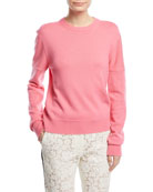 Crewneck Cold-Shoulder Cashmere Sweater