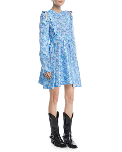 Cold-Shoulder w/ Bow Floral-Jacquard Cocktail Dress