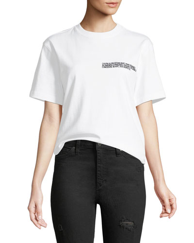 Crewneck Short-Sleeve Cotton Tee with History Graphic