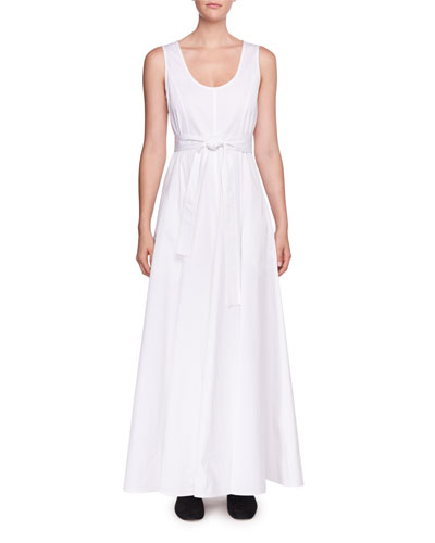 Daria Scoop-Neck Sleeveless Poplin Maxi Dress
