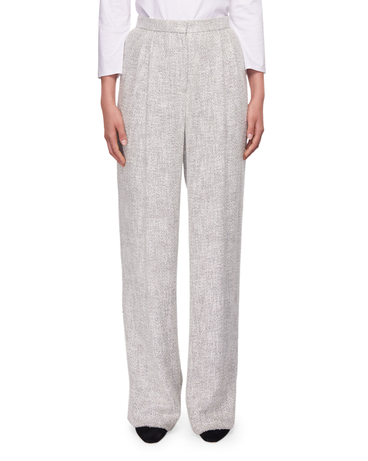 Hester High-Waist Wide-Leg Fluid Tweed Pants