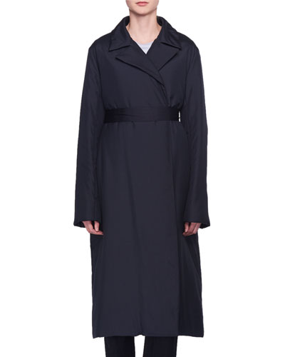 Dundi Notched-Lapel Belted Silk Coat