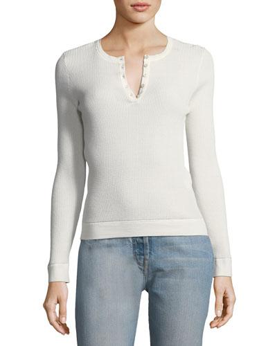 Linsia Crewneck Short-Sleeve Cotton-Silk Top