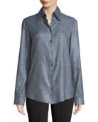 Ravia Button-Front Long-Sleeve Bamboo Shirt