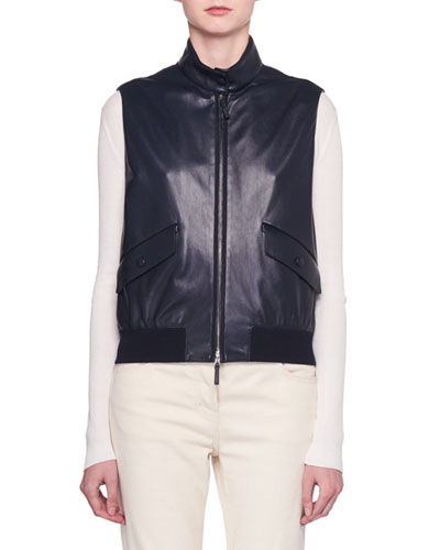Lehry Zip-Front Leather Vest